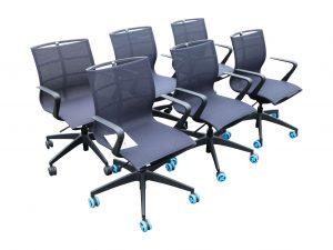Sedus Se Joy Konferenzstuhl Homeoffice Stuhl schwarz anthrazit 6 Stück im Paket Schrägaufnahme