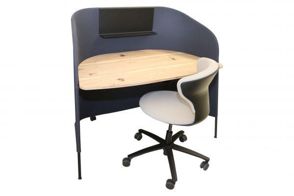 Sedus Secretair mobiler Einzelarbeitsplatz anthrazit freigestellte Ansicht mit Stuhl
