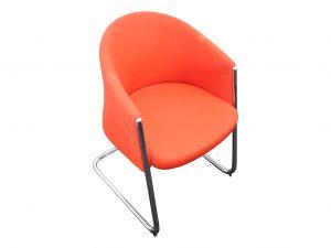 Sedus Silent Rush Besucherstuhl orangerot mit Chromgestell Schrägansicht