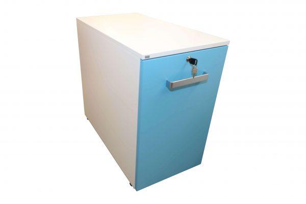 Sedus Standcontainer hellblau weiß Schrägansicht mit waagerechtem Griff