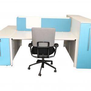 Sedus Standcontainer hellblau weiß Komplettansicht 1