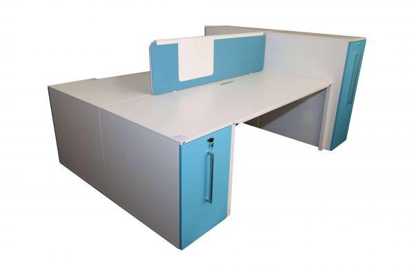 Sedus Standcontainer hellblau weiß Komplettansicht 2