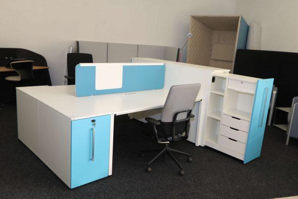 Sedus Standcontainer hellblau weiß Komplettansicht 8