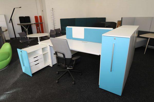Sedus Standcontainer hellblau weiß Komplettansicht 9