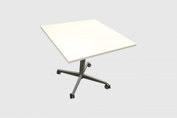 Sedus Steh-Sitz-Tisch weiß hydraulisch höhenverstellbar schrägansicht