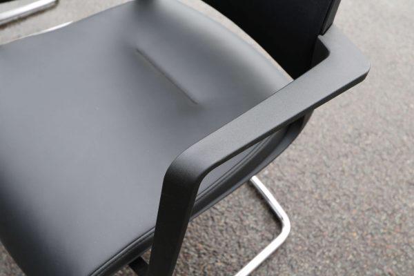 Sedus Swing Up Leder-Freischwinger schwarz 6 Stück Armlehne und Lederfläche