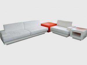 Sofa 4-teilig Veloursleder weiß orange in freigestellter Darstellung