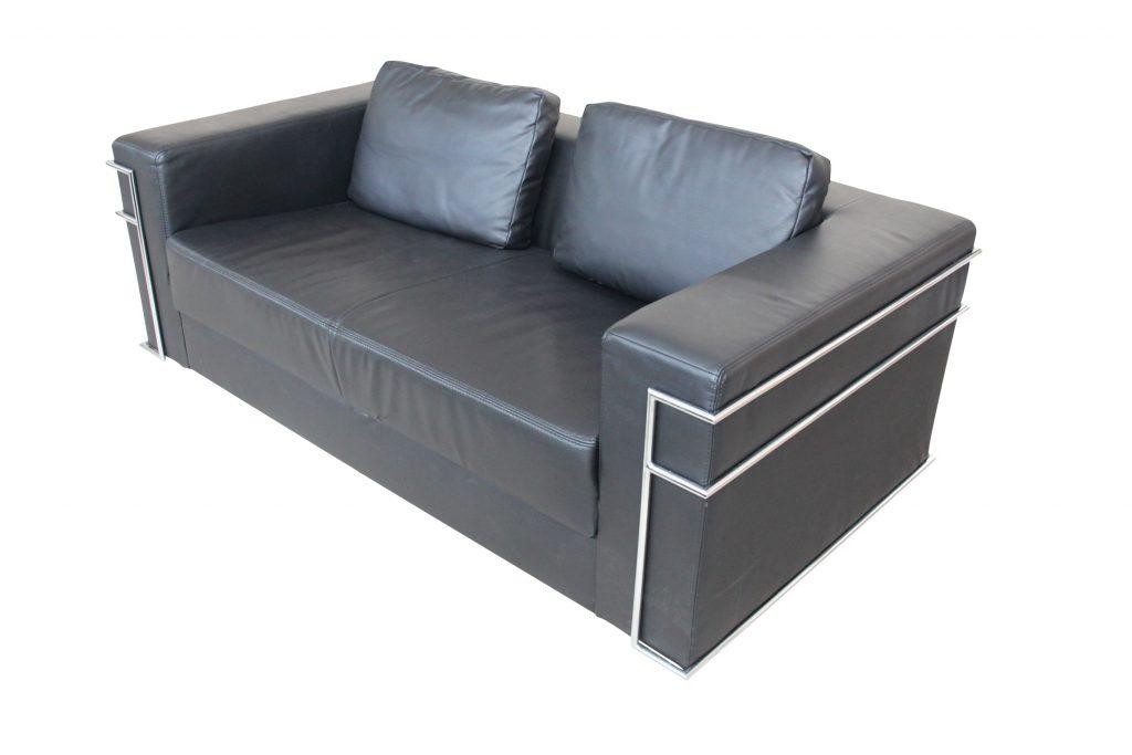 Sofa schwarz gebraucht Kunstleder - zeitlos kubische Form