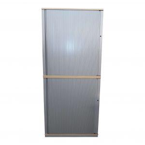 Steelcase Querrollo-Aktenschrank 6OH Ahorndekor Frontalansicht