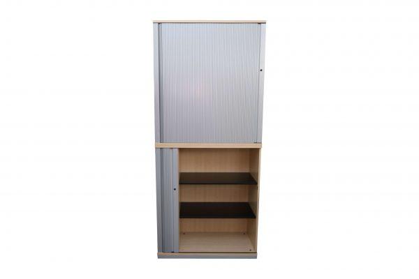 Steelcase Querrollo-Aktenschrank 6OH Ahorndekor teilgeöffnet
