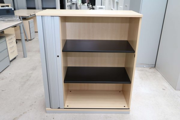 Steelcase Querrollo Highboard 3OH Ahorn Silbergrau offen
