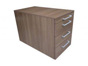 Steelcase Rollcontainer Nussbaum mit Schubladen Schrägansicht