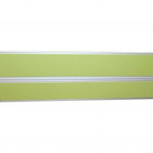 Steelcase Sichtschutzwand hellgruen mit Orgarail  mit Sicht von vorne