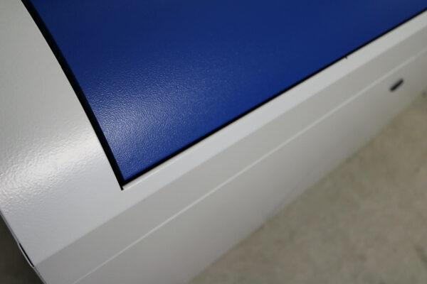 Stumpf Metall Mülleimer blau/lichtgrau unbenutzt Klappe geschlossen