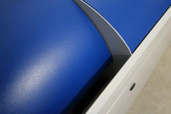 Stumpf Metall Mülleimer blau/lichtgrau unbenutzt Klappe schwenkbar