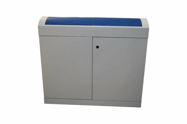 Stumpf Metall Mülleimer blau/lichtgrau unbenutzt Sicht von vorne