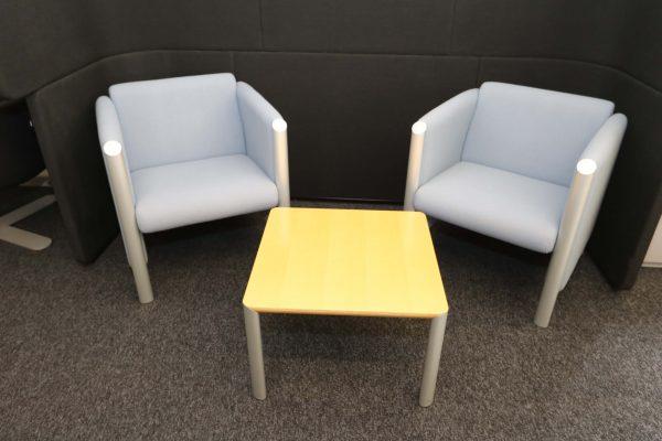 Wilkhahn Loungemöbel-Sessel Cubis graublau Kombinationsvorschlag mit Cubis Tisch