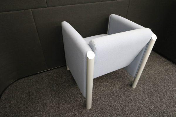 Wilkhahn Loungemöbel-Sessel Cubis graublau schräg von hinten