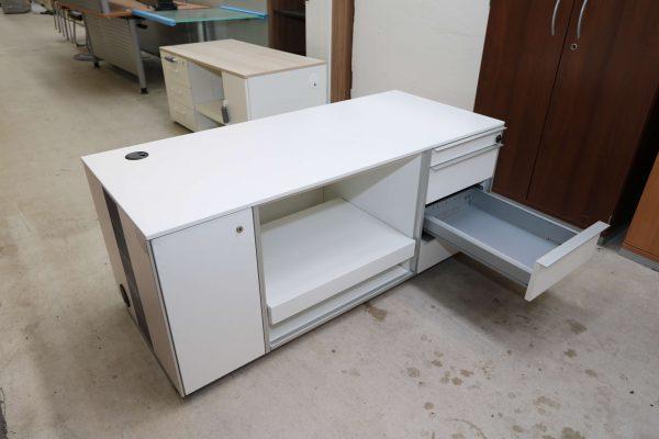 Wini Medienmöbel weiß mit Rechnerfach und Druckerauszug mittlere Schublade