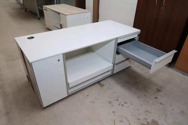 Wini Medienmöbel weiß mit Rechnerfach und Druckerauszug obere Schublade
