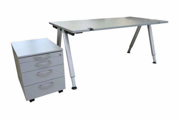 Wini Schreibtisch mit Rollcontainer freigestellte Sicht