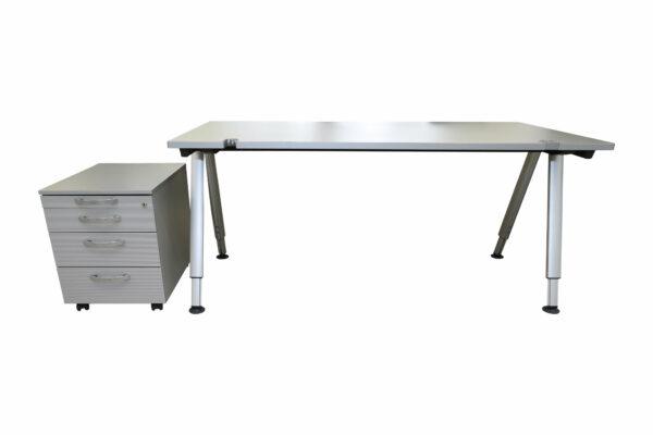 Wini Schreibtisch mit Rollcontainer Sicht von vorne